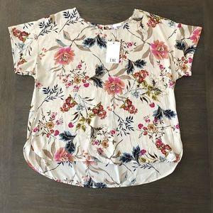 💐DR2 Cream/FloralShirt Sleeve Blouse XXL